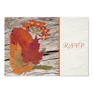 Dried Autumn Leaves and Flowers RSVP Card