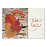 Dried Autumn Leaves and Flowers Wedding Invitation