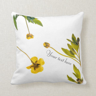 Dried buttercup flower with custom text throw pillow