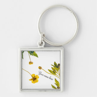 Dried buttercup flowers Silver-Colored square keychain