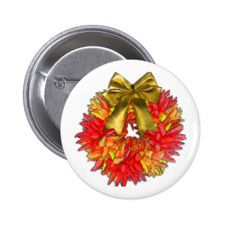 Dried Chili Pepper Wreath & Gold Bow 2 Inch Round Button