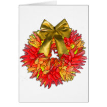 Dried Chili Pepper Wreath & Gold Bow Card