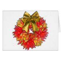 Dried Chili Pepper Wreath & Gold Bow Card