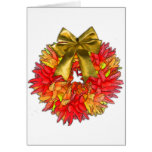 Dried Chili Pepper Wreath & Gold Bow Greeting Card
