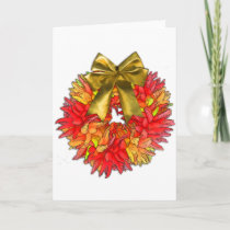 Dried Chili Pepper Wreath & Gold Bow Holiday Card
