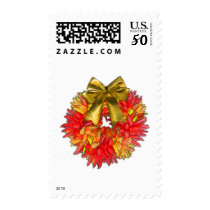 Dried Chili Pepper Wreath & Gold Bow Postage