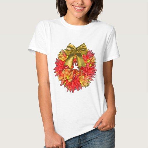 Dried Chili Pepper Wreath & Gold Bow Tshirts