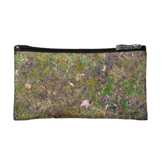 Dried Fallen Leaves on Grass Ground - Completely S Cosmetic Bag