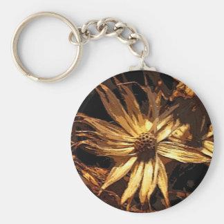 Dried Flower Abstract Basic Round Button Keychain
