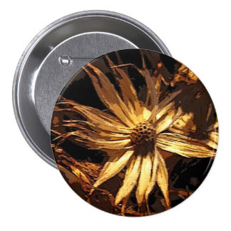 Dried Flower Abstract 3 Inch Round Button