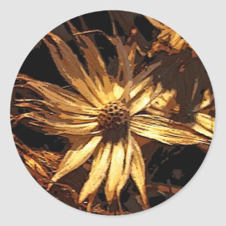 Dried Flower Abstract Classic Round Sticker
