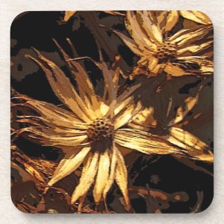 Dried Flower Abstract Beverage Coasters