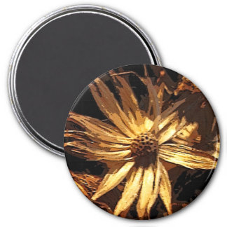 Dried Flower Abstract 3 Inch Round Magnet