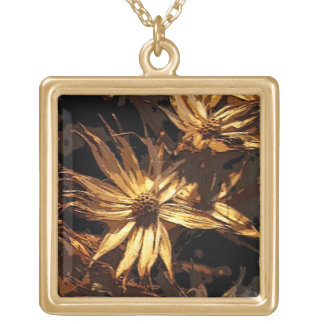 Dried Flower Abstract Square Pendant Necklace