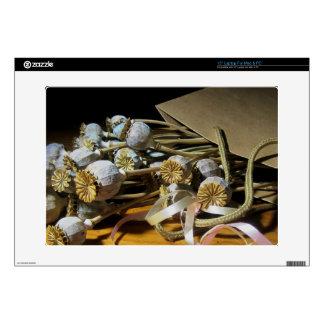 """Dried Flower Poppy Pods 15"""" Laptop Skin"""