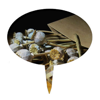 Dried Flower Poppy Pods Cake Picks
