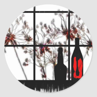 Dried flowers windowsill with red glass bottle classic round sticker