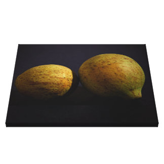 Dried Fruit on Black Background Wrapped Canvas