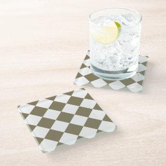 Dried Herb Olive Green Diamond Pattern Glass Coaster