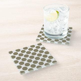 Dried Herb Olive Green Polka Dots Glass Coaster