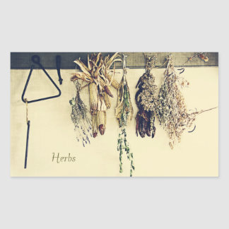 dried herbs, corn and lavender herbs label