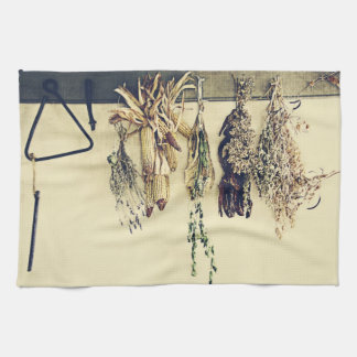 dried herbs rustic country still life hand towel