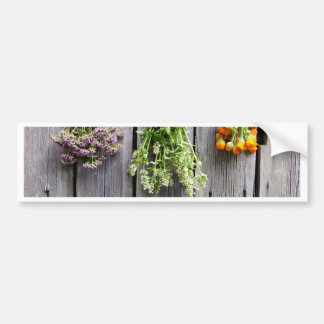 dried herbs wooden vintage grey wall bumper stickers