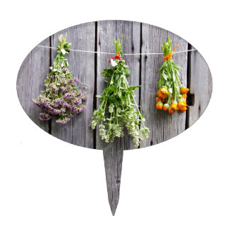 dried herbs wooden vintage grey wall cake topper