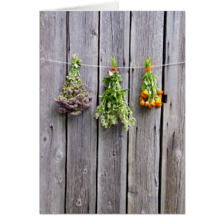 dried herbs wooden vintage grey wall card