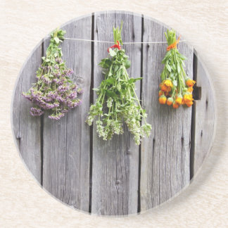 dried herbs wooden vintage grey wall beverage coaster