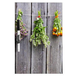 dried herbs wooden vintage grey wall dry erase board