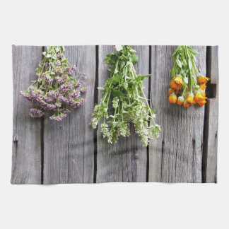 dried herbs wooden vintage grey wall kitchen towel