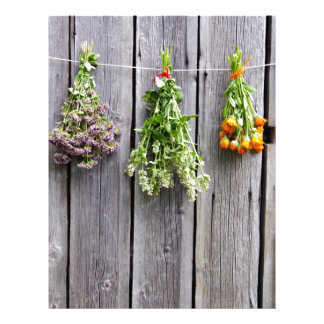 dried herbs wooden vintage grey wall customized letterhead