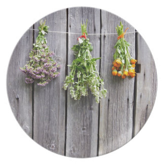 dried herbs wooden vintage grey wall party plate