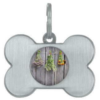 dried herbs wooden vintage grey wall pet tags