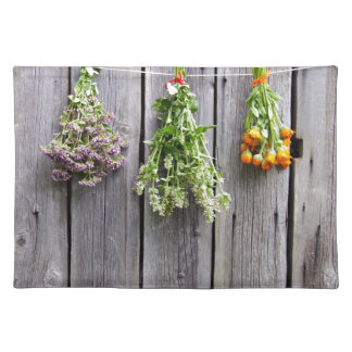 dried herbs wooden vintage grey wall place mat
