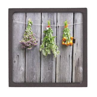 dried herbs wooden vintage grey wall premium keepsake box