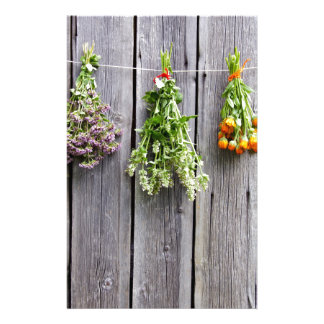 dried herbs wooden vintage grey wall stationery