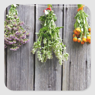 dried herbs wooden vintage grey wall square stickers