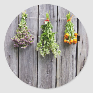 dried herbs wooden vintage grey wall classic round sticker