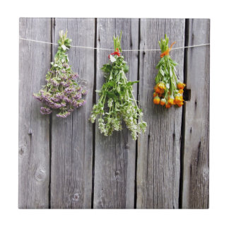 dried herbs wooden vintage grey wall tile