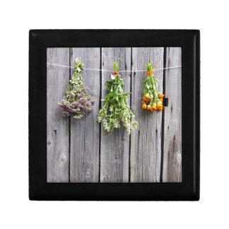 dried herbs wooden vintage grey wall trinket box