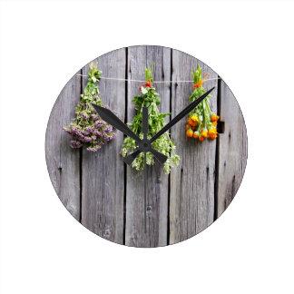 dried herbs wooden vintage grey wall wall clock