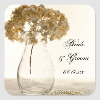 Dried Hydrangea and Pearls Wedding Envelope Seals Square Sticker