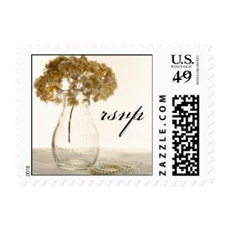 Dried Hydrangea Wedding RSVP Postage Stamp
