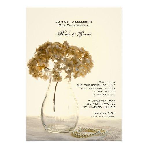 Dried Hydrangeas Engagement Party Custom Invite
