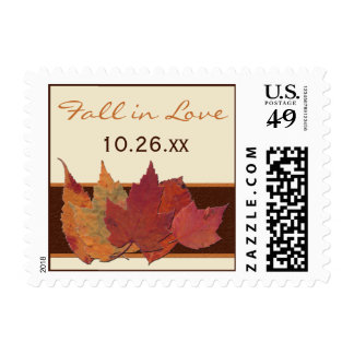 "Dried Leaves ""Fall in Love"" Wedding Postage"