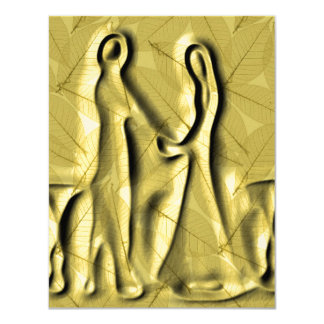 Dried Leaves Wedding Invitations (Gold Tone)