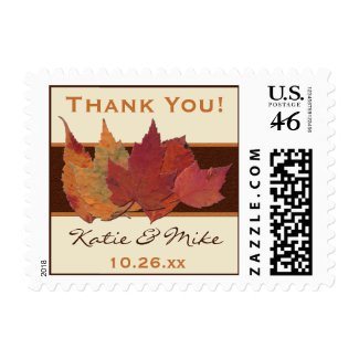 Dried Leaves Wedding Thank You Postage
