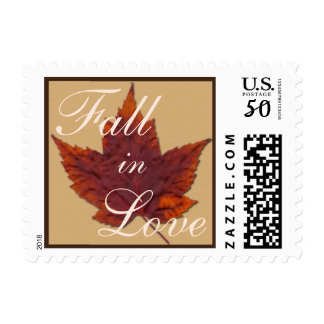 """Dried Maple Leaf """"Fall in Love"""" Postage"""